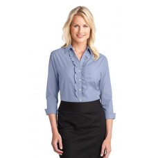 CLOSEOUT Port Authority® Ladies Crosshatch Ruffle Easy Care Shirt. L644